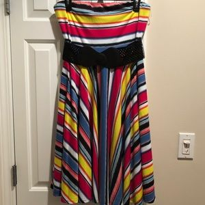 Cute Maurices Fit & Flare Striped Dress with belt